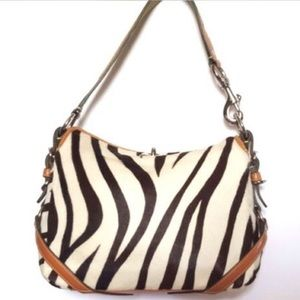 RARE Coach zebra long calf hair shoulder bag